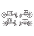 outline king carriages or vintage chariote set vector image vector image