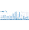 outline quezon city philippines skyline with blue vector image vector image