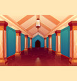 palace hall castle column empty corridor interior vector image vector image