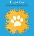 paw icon sign Floral flat design on a blue vector image vector image