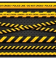 Police line and danger tapes on dark background vector | Price: 1 Credit (USD $1)