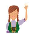 portrait happy swiss woman waving hand vector image