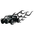 rat rod on a background with flames vector image vector image