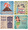 Retro set of banners with Hawaiian symbols