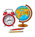 retro style alarm clock school globe pen pencil vector image