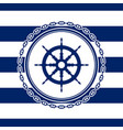 round marine emblem with ships wheel vector image vector image