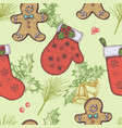seamless pattern with colored bells gingerbread vector image vector image