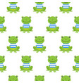 seamless pattern with cute sailor frogs vector image vector image