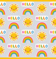 seamless summer pattern sun and rainbow vector image vector image
