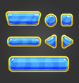 Set blue button in cartoon style vector image