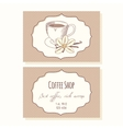Sketched coffee cup with vanilla flower business vector image