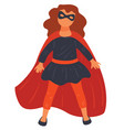 small girl wearing costume super hero vector image