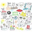 Spring season set doodles elements Hand drawn vector image vector image