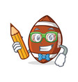 student with pencil american football character vector image vector image