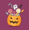 sweet with halloween pumpkin basket