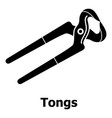 tongs icon simple black style vector image