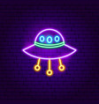 ufo neon sign vector image