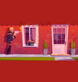 worker installs plastic window at house vector image
