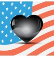 Black heart on a USA flag background vector image