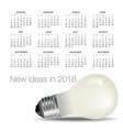 2018 idea and light bulb calendar vector image vector image