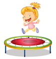 A girl playing trampoline vector image vector image