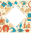 background with egypt symbols in colored line vector image