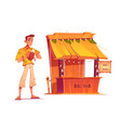 bartender and wooden tiki bar with tribal masks vector image vector image