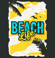 beach summer poster design with palm leaves vector image