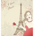 Beautiful girl in Paris vector image vector image