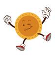 cartoon golden coin character funny happy vector image vector image