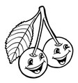 cherries with smile vector image vector image