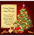 Christmas tree and gifts and scroll for your text vector image