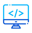 coding computer monitor thin line icon vector image
