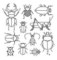 collection of different bugs icon set of insects vector image