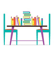 Colorful Chairs And Books On Table vector image vector image