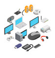 computer icons set isometric 3d style vector image vector image