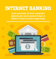 credit card internet banking concept banner flat vector image vector image