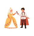 cute boy in prince costume giving rose to girl vector image vector image