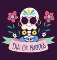 day dead female skeleton with earrings vector image vector image