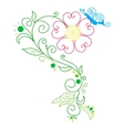 Doodle color abstract daisy and butterfly vector image