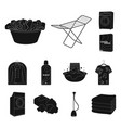 dry cleaning equipment black icons in set vector image vector image