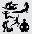 fitness and yoga sport male and female silhouette vector image vector image