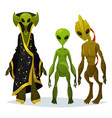 funny cartoon aliens or extraterrestrial invaders vector image vector image