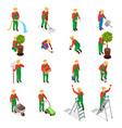 gardener characters icon set vector image vector image