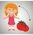 girl cartoon tomato vegetable health vector image