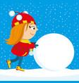 girl pushes a big snowball vector image