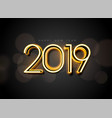 glowing 2019 new year background design vector image vector image