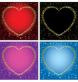 gold decorative cards with hearts - set of frames vector image vector image