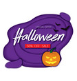 halloween night background with pumpkin bats vector image