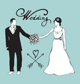 hand drawn digital bride and gromm vector image